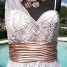 Cache $238 RUCHED BUILT-In BRA EVENT DRESS NWT 8/10 PEARL METALLIC EMBELLISHED