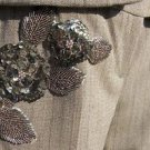 Cache LUXE $228 ELABORATE EMBELLISHED LINED Pant NWT BROWN OATMEAL METALLIC