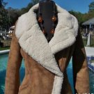 Cache $358  BROWN METALLIC SHEARLING JACKET COAT Top NWT M/L  Faux Fur SOFT