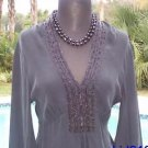 Cache LUXE $158 SILK BEAD Top NWT S/M/L 4/6/8/10 PEASANT EMPIRE TULIP SLEEVE