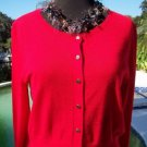 Cache $108 WOOL CASHMERE FRONT BUTTON Top NWT S/M FUN & FLIRTY STRETCH