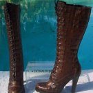 Donald Pliner COUTURE $595 CARIB GATOR LEATHER Boot Shoe NIB 6 LACE-UP DETAIL