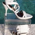 Donald Pliner $250 COUTURE LEATHER STRAPY STACK ANKLE ELASTIC Shoe NIB 7 9.5 10