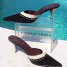 Donald Pliner $265 COUTURE SUEDE LEATHER Shoe Mule NIB BLACK IVORY MUSHROOM