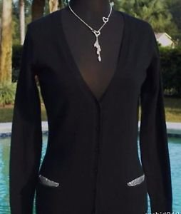 Cache $98 SILVER METAL METALLIC KISSED POCKETS STRETCH CARDIGAN Top NWT XS/S/M/L