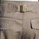 Cache $118 EMBELLISHED ZIPPER ANKLE ADJUSTABLE SELF-BELT Pant Jean NWT STRETCH