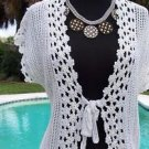 Cache $128 WHITE SILVER METALLIC PEEK-A-CROCHET VEST Top NWT S/M/L STRETCH