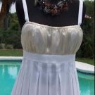 Cache $118 GOLD WHITE METALLIC RUCHED Cami Top NWT S/M/L SHEER ILLUSION