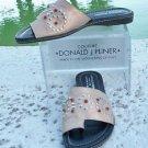 Donald Pliner $285 METALLIC LEATHER Shoe NIB RUBBER FLEX SOLE FLAT SANDAL TOE