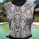 Cache $178 STRETCH DRESS BODY SHAPE LINED NWT L/XL REMOVABLE BELT BLACK & WHITE