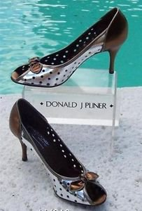 Donald Pliner $295 COUTURE PERFORATED METALLIC PATENT LEATHER Pump Shoe NIB
