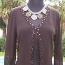 CHICO'S Chicos 0/ 1/ 2 $88 SEQUIN Jacket Top NWT S/M/L FUDGE BROWN EMBELLISHED