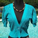 Cache $$$ SEQUIN JACKET COTTON KNIT Top SHRUG  NWT XS/S/M OCEAN BLUE