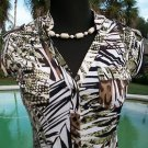 Cache $88 STRETCH Top NWT XS/S TROPICAL ANIMAL FRONT SNAP TIE AT BOTTOM