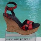 Donald Pliner $250 COUTURE HAND CARVED CORK PITONE LEATHER WEDGE Shoe NIB