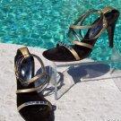 Donald Pliner $250 COUTURE PLATINO METALLIC LEATHER Shoe NIB 6 6.5 CHUNKY STONES