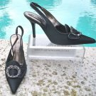 Donald Pliner COUTURE $310 SATIN LEATHER SLINGBACK Pump Shoe NIB 6.5 RHINESTONE