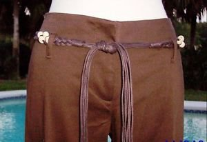 Cache $118 Lot 2 LEATHER BEAD BELT+ Pant NWT 0/2/4/6/8/10/12 COTTON SPANDEX