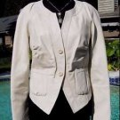 Cache LUXE $398 PEARLIZED IVORY LAMB LEATHER JACKET COAT Top NWT 4/6/8 S/M
