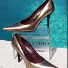 Donald Pliner $275 COUTURE BEIGE MIRROR METALLIC LEATHER Shoe NIB Pump 5.5