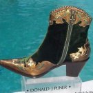 Donald Pliner $400 WESTERN COUTURE METALLIC LEATHER BOOT Shoe NIB 6 6.5 VELVET