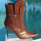Donald Pliner $495 COUTURE DARK TAN LEATHER Boot Shoe NIB 8 SIDE ZIPPER SIGNATUR