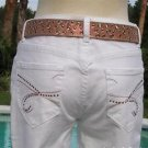 Cache  $88 WHITE DENIM EMBELLISHED Jean Pant NWT CROP STRETCH 4/6/8 S/M