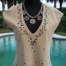 Donald Pliner $995 SUEDE LEATHER TOP NWT XS/S/M EMBELLISHED TUNIC V NECK