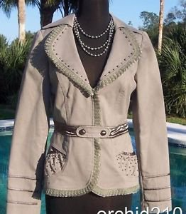 Cache $178 PEARL EMBELLISHED Jacket Top NWT 6/8/10 S/M LINED LACE TRIM
