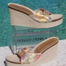 Donald Pliner $235 SUEDE LEATHER WEDGE  PLATFORM Shoe NIB METALIC MESH ELASTIC