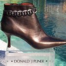 Donald Pliner COUTURE $375 METALLIC LEATHER Boot Shoe NIB METAL ANKLE CHAIN