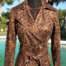 Cache $238 TRENCH COAT + REMOVABLE BELT LEOPARD PRINT Jacket NWT XS/S DELICIOUS