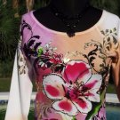 Cache $98 TROPICAL EMBELLISHED METALLIC BEADS Top NWT XS/S/M STRETCH