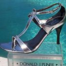 Donald Pliner COUTURE $275 MIRROR METALLIC LEATHER Shoe NIB 10 T STRAPY SANDAL