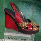 Donald Pliner $340 COUTURE TOMATO GATOR LEATHER HAIR CALF WEDGE Shoe NIB 10