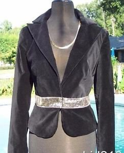 Cache $198 VELVET SELF-BELT SEQUIN EVENT Jacket Top NWT XS/S/M/L LINED