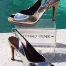 Donald Pliner $285 COUTURE CORK METALLIC SILVER LEATHER Pump Shoe NIB SLINGBACK