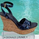 Donald Pliner $250 COUTURE HAND CARVED CORK PITONE LEATHER WEDGE Shoe NIB 11