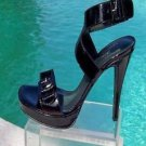 Donald Pliner $265 COUTURE ANTIQUE PATENT LEATHER Shoe NIB ANKLE WRAP SIGNATURE