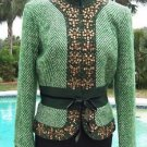 Cache $238 PLAID EMBELLISHED Top JACKET NWT XS/S/M/L VELVET SELF-BELT LINED