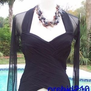 Cache $168 RUCHED OTTOMAN SHEER ILLUSION SHOULDER SLEEVE Top NWT XS/S 0/2/4/6