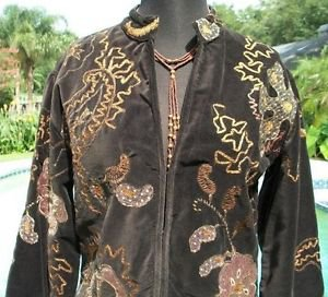 CHICO'S Chicos 1 $198 VELVET JACKET Top NEW S/M LINED ELABORATE EMBELLISHED