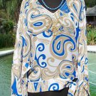 Cache $138 TUNIC EMBELLISHED SELF-BELT SILK Top NWT S/M SEXY FLOWING