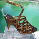 Donald Pliner $295 COUTURE BRONZE METALLIC LEATHER STRAPY PLATFORM Shoe NIB 6
