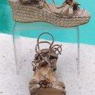 Stuart Weitzman $255 PLATFORM ESPADRILLE WEDGE Shoe Sandal NIB 6.5 METALLIC