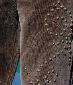 Cache $178 VELVET CORD EMBELLISHED Pant NWT 4/6/8/10/12 S/M/L  ICE BROWN STRETCH