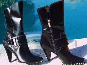 Donald Pliner $495 COUTURE POLISHED CALF LEATHER Boot Shoe NIB 6.5 PEACE
