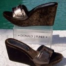 Donald Pliner $250 COUTURE METALLIC LEATHER WEDGE Shoe VELVET EMBROIDERY