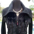 Cache $168 FRONT ZIP OVERSIZE COLLAR Faux FUR SEQUIN RIB KNIT Top NWT SWEATER