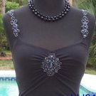 Cache $98 SEQUIN BEAD MICROFIBER RUCHED CAMI Top NWT XS/S/M STRETCH SHELF-BRA
